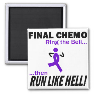 Final Chemo Run Like Hell - Violet Ribbon Square Magnet