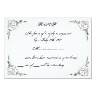 FINAL Cute Elegant Classy Rose Silver RSVP Cards 9 Cm X 13 Cm Invitation Card