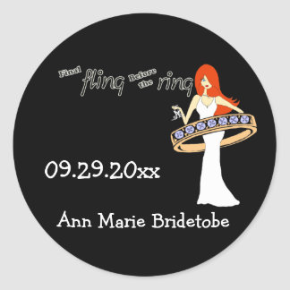 Final Fling Before The Ring Ginger Bride Round Sticker