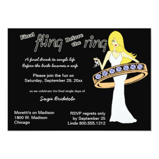 Final Fling Before The Ring Yellow Haired Bride 13 Cm X 18 Cm Invitation Card