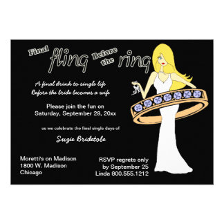 Final Fling Before The Ring Yellow Haired Bride Personalized Announcements