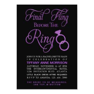 Final Fling Faux Glitter Bachelorette Party 13 Cm X 18 Cm Invitation Card
