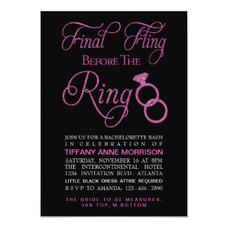 Final Fling Faux Glitter Bachelorette Party Card