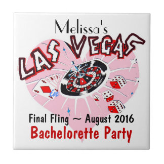 Final Fling Las Vegas in pink, black, and white Small Square Tile