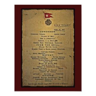 Final Menu RMS Titanic 11 Cm X 14 Cm Invitation Card
