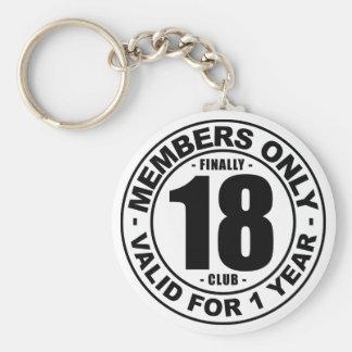 Finally 18 club basic round button key ring
