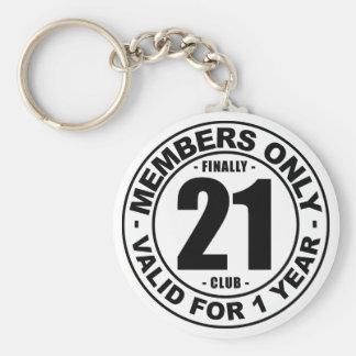Finally 21 club basic round button key ring