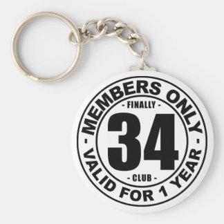 Finally 34 club basic round button key ring