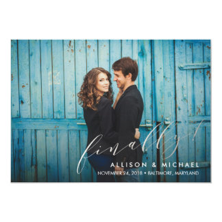 Finally Calligraphy Script Save the Date 13 Cm X 18 Cm Invitation Card
