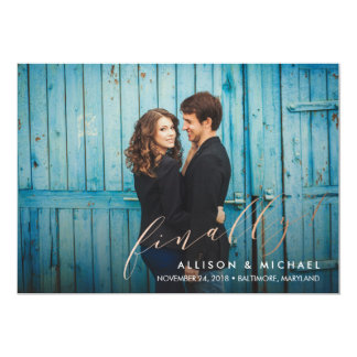 Finally Faux Foil Calligraphy Script Save the Date Card