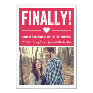 Finally - Pink Photo Save The Date Announcements