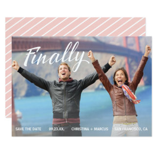 Finally Save the Date Rose Gold Colored Stripe Card