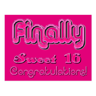 Finally Sweet 16 Shiny Hot Pink Cute Typography Postcard