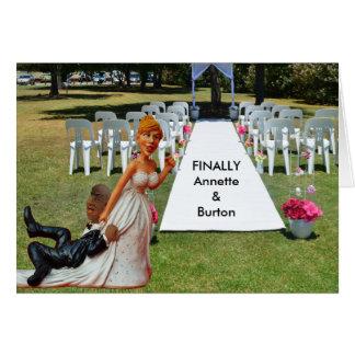 Finally Wedding Funny Interracial Couple 2 Card