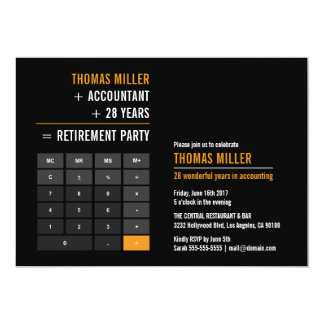 Finance Calculator Retirement Party Card