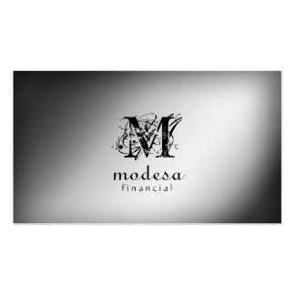 Financial Business Cards Silver Professional Plain