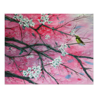 Finch Amongst the Cherry Blossoms Print