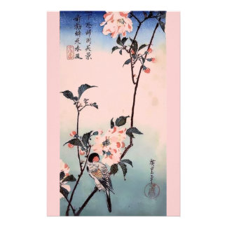 Finch Cherry Blossom Japanese Print Personalised Stationery