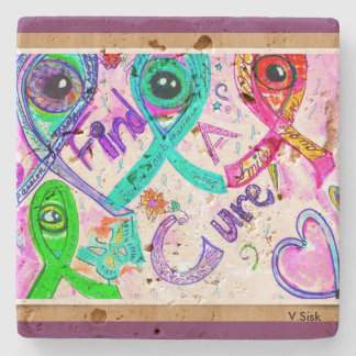 Find a Cure Coaster by V.Sisk Stone Coaster