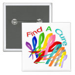 Find A Cure Colourful Cancer Ribbons 15 Cm Square Badge