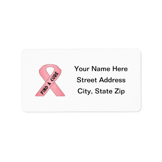 Find A Cure (pink ribbon) Label