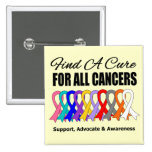 Find a Cure Ribbons For All Cancers Pins