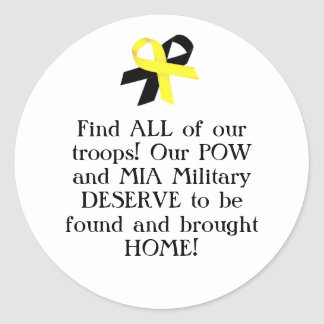 Find ALL of our troops! Our POW and MIA Military.. Sticker