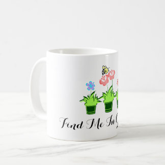 """Find Me In Gardens"" Flower Plants and Bee Mug"