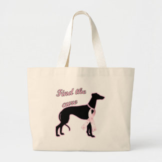 Find the Cure ~ Greyhound Large Tote Bag