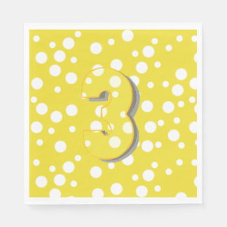Find the Number 3 Third Birthday Napkins Disposable Napkins