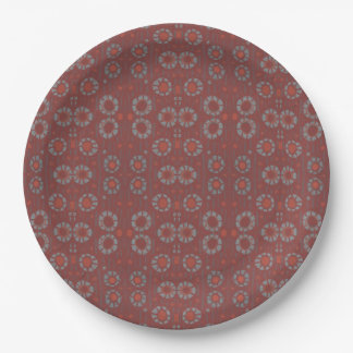 Find the Rabbit, rustic pattern, gray & terracotta Paper Plate