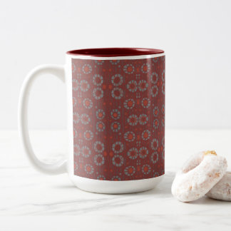 Find the Rabbit, rustic pattern, gray & terracotta Two-Tone Coffee Mug