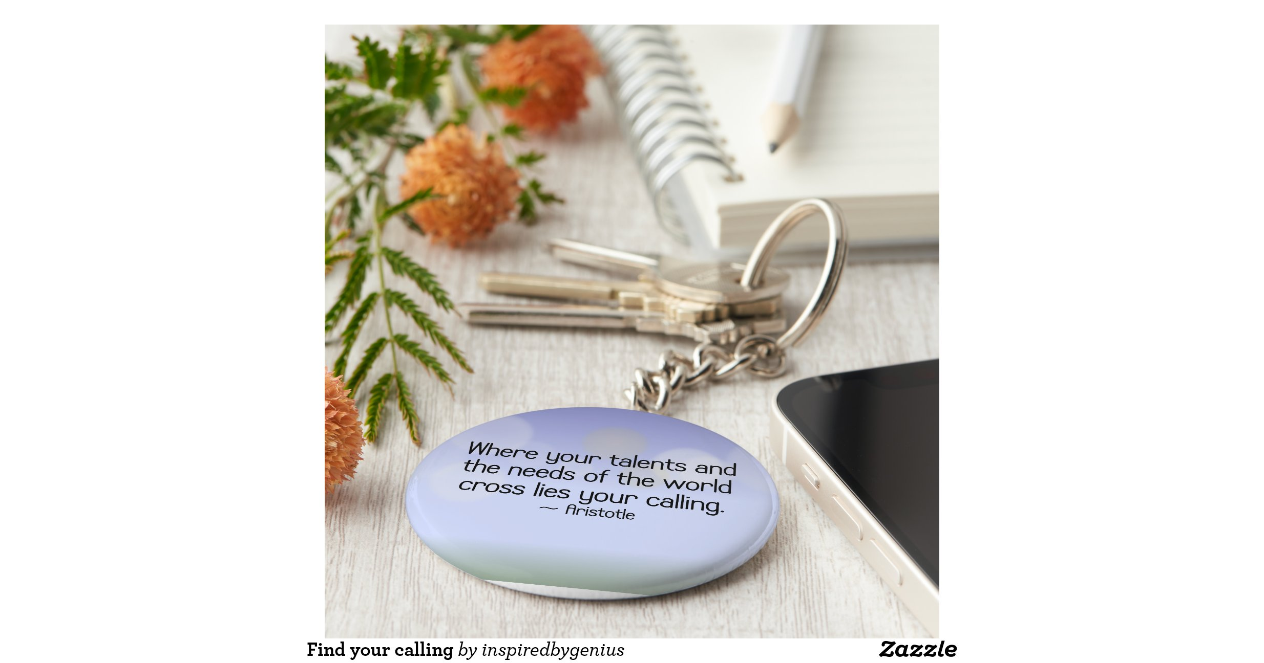 Create cute as a button christmas decor and gifts - Find Your Calling Basic Round Button Key Ring Zazzle