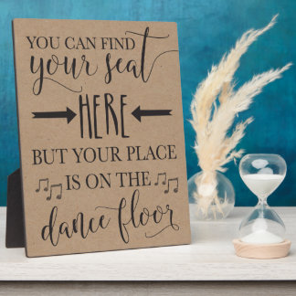 Find Your Seat Here Wedding Poster Sign 8x10 Plaque