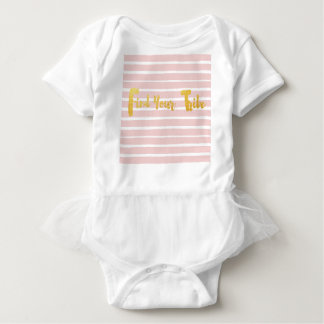 find-your-tribe-pink-stripe. baby bodysuit