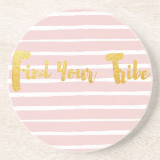 find-your-tribe-pink-stripe coaster