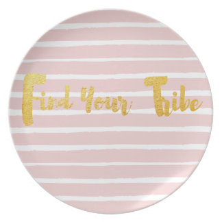 find-your-tribe-pink-stripe party plate