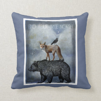 Find Your True North Bear Fox And Crow Cushion