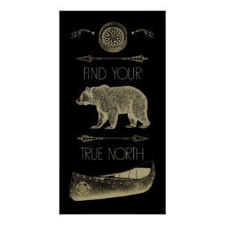 Find Your True North Canoe Bear Arrows Compass Poster