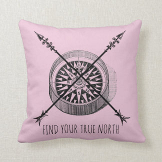 Find Your True North Crossed Arrows Compass Cushion
