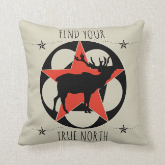 FIND YOUR TRUE NORTH ELK THROW PILLOW