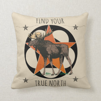Find Your True North Moose Cushion