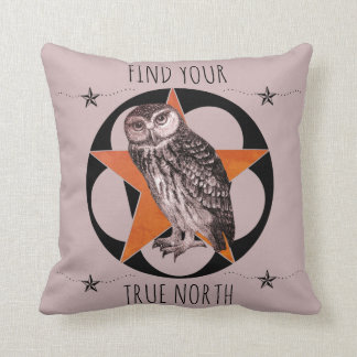 Find Your True North Owl Cushion