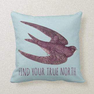 FIND YOUR TRUE NORTH SWIFT BIRD THROW PILLOW