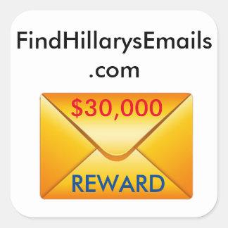 FindHillarysEmails.com Buttons Square Sticker