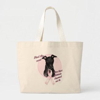 FindtheCure ~ Pink Ribbon Black Greyhound Large Tote Bag