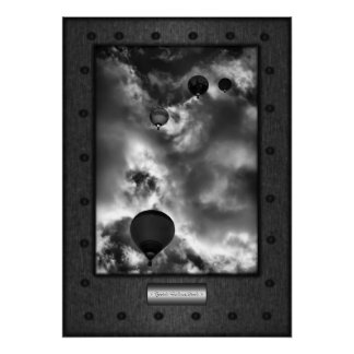 Fine Art, Hotair Balloon Stack, faux riveted steel Poster