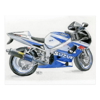 Fine Art Postcard- Suzuki motorbike, watercolour Postcard