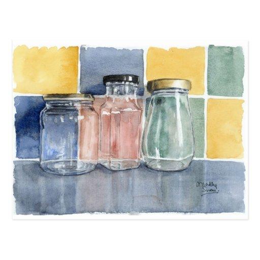 """Fine Art Postcard- """"Three Glass Jars"""", watercolour"""