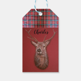 Fine Art red Deer Stag Gift Tag